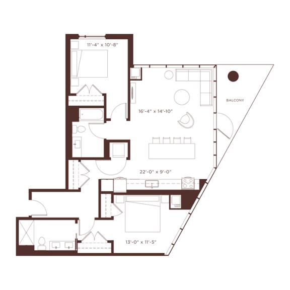 Floor Plan  b3 Floorplan at North+Vine, Chicago, IL, 60610