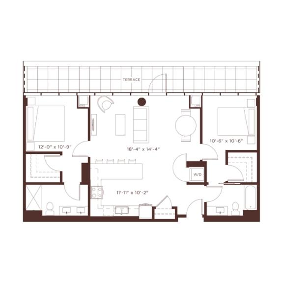 Floor Plan  at North+Vine, Illinois, 60610
