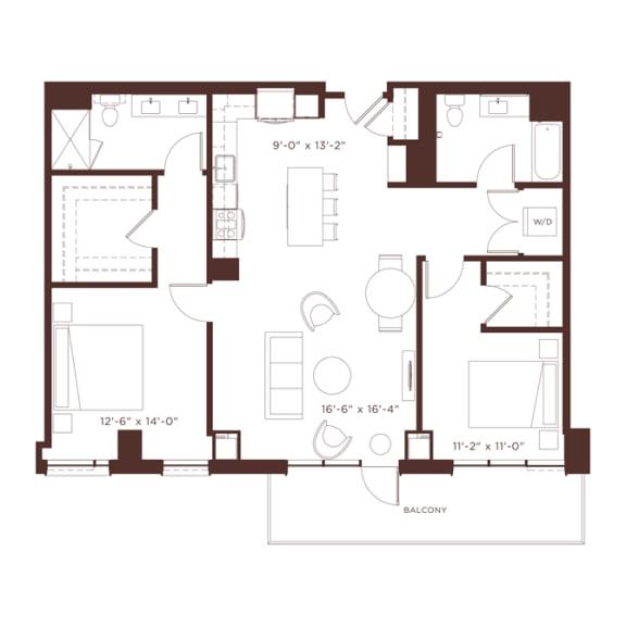 Floor Plan  22 floorplan at North+Vine, Chicago, 60610