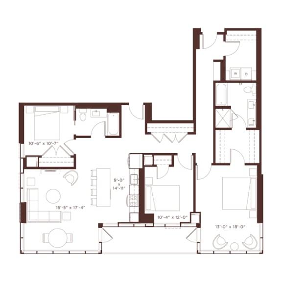 Floor Plan  27 floorplan at North+Vine, Chicago, IL, 60610