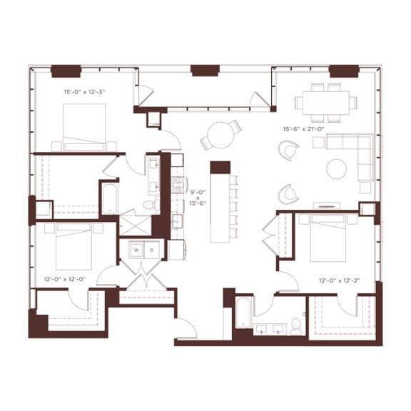 Floor Plan  28 floorplan at North+Vine, Chicago, IL