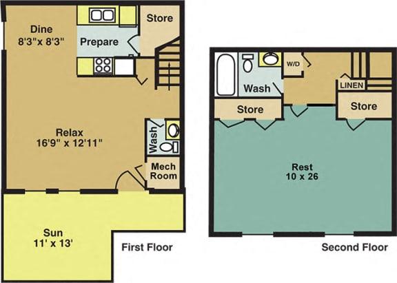 Floor Plan  the Oak Floor Plan at Woodland Creek Apartments in Durham NC