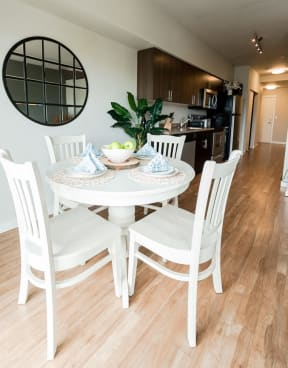 Kent Apartments - The Platform Apartments - Dining Room, Kitchen, and Entryway