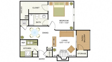 Plan A2 One Bed One Bath 650 Sq.ft. FloorPlan at Peppermill, Universal City, TX