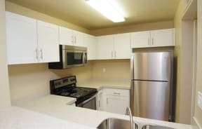 Kitchen l All stainless appliances with stone counter tops