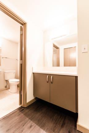 Seattle Apartments - Cosmopolitan Apartments - Vanity and Kitchen