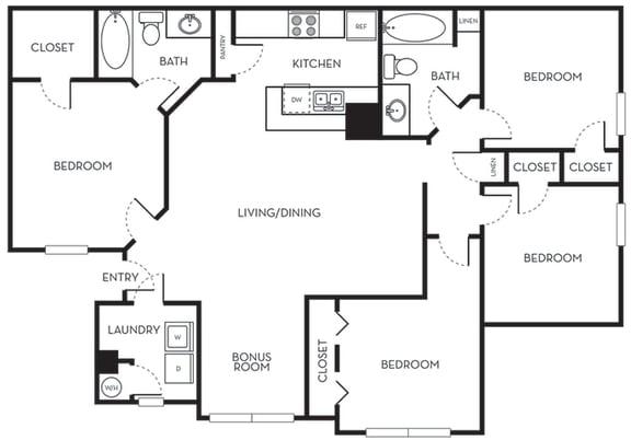 Floor Plan  Four Bedroom Two Bath Floorplan The Terraces at Lake Mary Florida