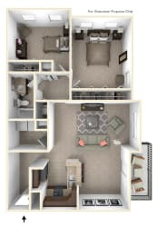 2-Bed/1-Bath, Eaton Floor Plan at Irene Woods Apartments, Collierville, Tennessee