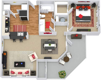 Cade 3D 1 bedroom apartment. Kitchen with bartop open to living & dining rooms. 1 full bathroom. Walk-in closet. Patio/balcony with storage.