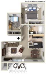 Plan B Floor Plan at WOODSIDE VILLAGE, West Covina, CA, 91792