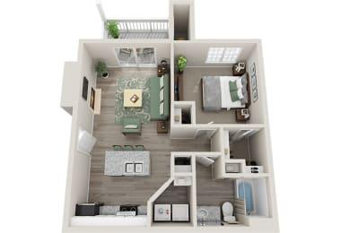 Floor Plan  The Village 1 Bedroom 1 Bath 706 sq.ft 3D Floor Plan