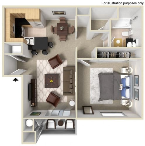 Floor Plan  One  bedroom floor plan l Vue at the Lake in Sacramento