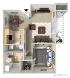 1x1 Floor Plans available at Forest Creek Apartments | Spokane, WA 99208