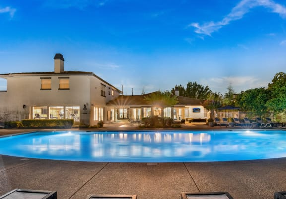 Resort Style Pool and Sun Deck at Ascent at the Galleria in Roseville, California