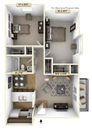 Two Bedroom Cedar Floor Plan at Thornridge Apartments, Grand Blanc