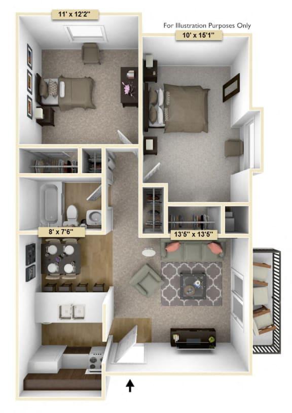 Floor Plan  Two Bedroom Cedar Floor Plan at Thornridge Apartments, Grand Blanc