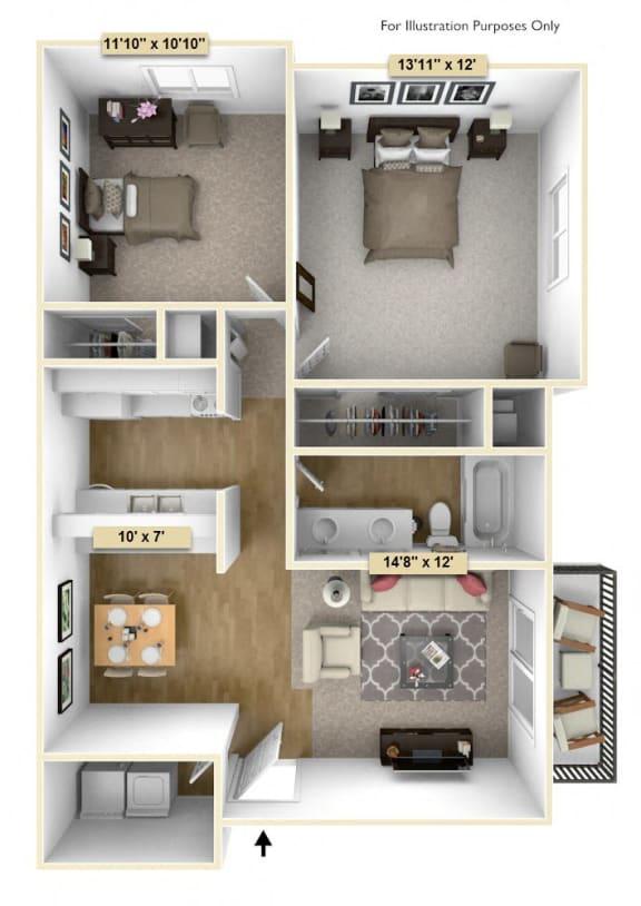 Floor Plan  Two Bedroom Pine Floor Plan at Thornridge Apartments, Grand Blanc, 48439