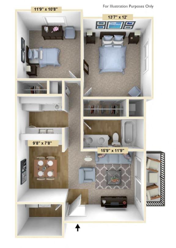Floor Plan  Two Bedroom Mulberry Floor Plan at Tanglewood Apartments, Oak Creek, 53154