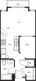 Tahoe – 0 Bedroom 1 Bath Floor Plan Layout – 499 Square Feet