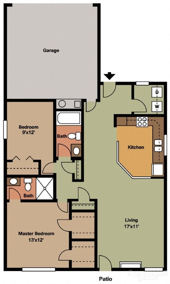 Floor Plan  2 Bed, 2 Bath Floor Plan at Shenandoah Properties, Lafayette, IN