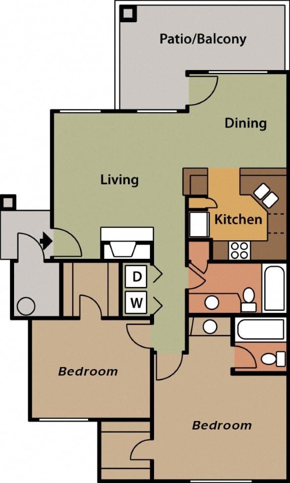Floor Plan  La Reserve two bedroom apartment 2B 2D floor plan