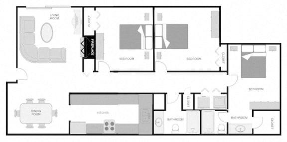 Floor Plan  Pecan Acres Apartments in Lake Charles, LA 3x2 Floor Plan