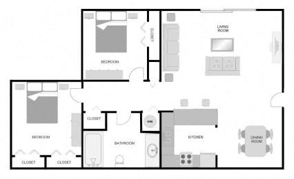 Pecan Acres Apartments in Lake Charles, LA 2x1 Floor Plan