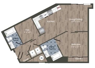 A25D Floor Plan at Park Kennedy, Washington