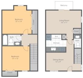 Floor Plan 2 BR 1.5 Bath Townhome