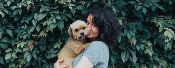 Women with dog at pet friendly Waterstone Apartments, Tracy, CA