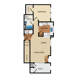 Havarra 1 Bedroom 1 Bathroom Floorplan at Santa Rosa Apartments, Wildomar, CA, 92595