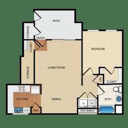 Villareal 1 Bedroom 1 Bathroom Floorplan at Santa Rosa Apartments, Wildomar, CA, 92595