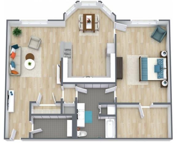 Floor Plan  1 Bedroom 1 Bath