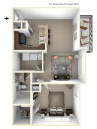 1-Bed/1-Bath, Franklin Floor Plan at Irene Woods Apartments, Collierville, 38017