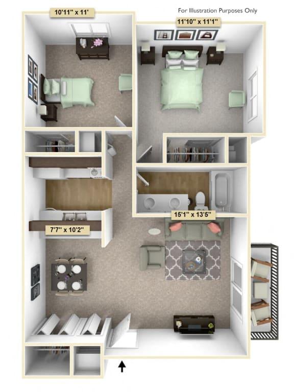 Floor Plan  Two Bedroom Cypress Floor Plan at Thornridge Apartments, Michigan, 48439