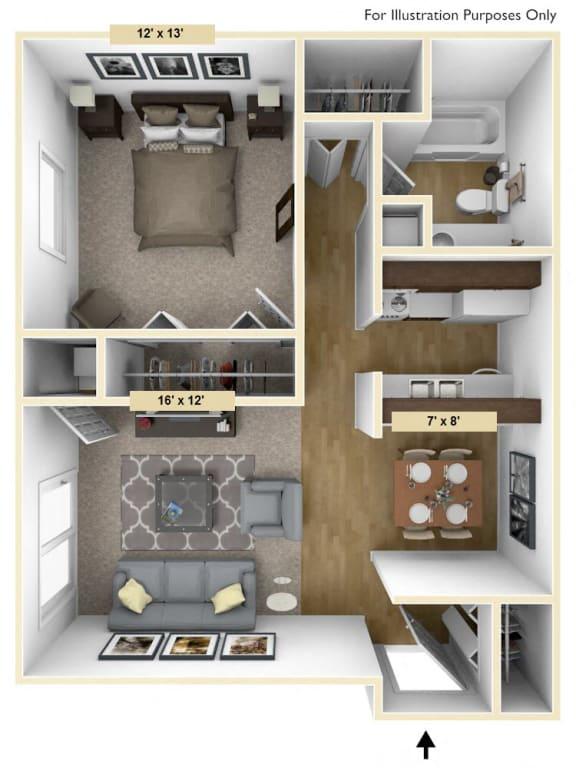 Floor Plan  Coventry One Bedroom Floor Plan at Windsor Place, Davison, MI, 48423