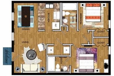 The Mill at 601 Apartments in Prattville 2x2 Huntsville Floor Plan