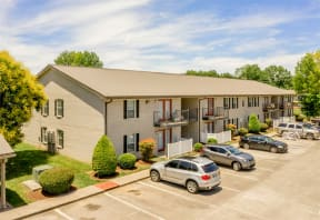 Aerial View of The Southern Apartments Exterior with Ample Parking and Lush Landscaping