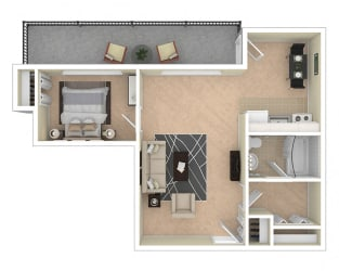 2112 New Hampshire Ave Jr 1 Bed floor plan