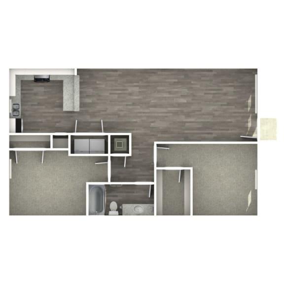 Floor Plan  2 bedroom 1 bathroom floor plan at The Life at Bay Pointe, Texas