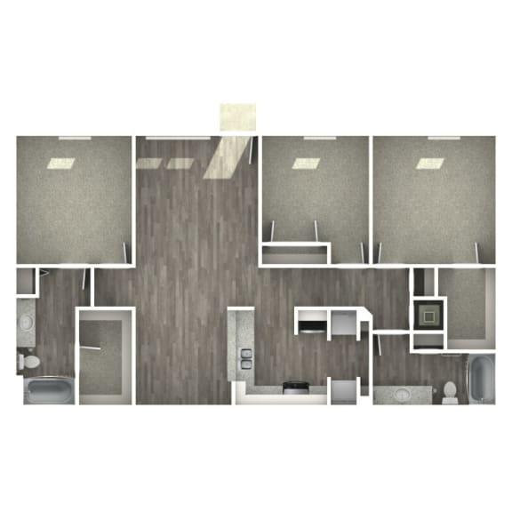 Floor Plan  3 bedroom 2 bathroom floor plan  at The Life at Bay Pointe, Baytown, 77520