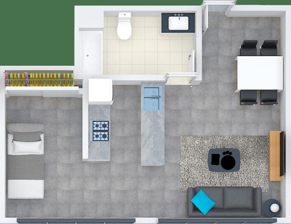 Floor Plan  LOFTC6 floor plan at Santa Fe Lofts in Los Angeles, CA 90014