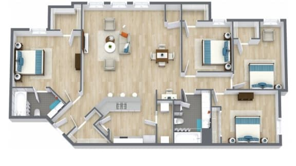 Floor Plan  4 Bed 2 Bath Floor Plan at The Life at Clearwood, Texas