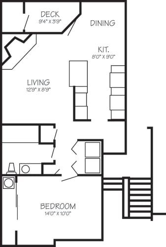 Floor Plan  Park Creek Village | Calypso 1x1 725 sq ft