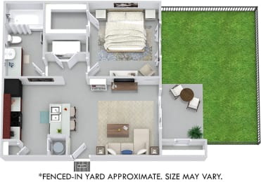 Benson with Fenced-in Yard 3D 1 bedroom apartment. Kitchen with bartop open to living room. 1 full bathroom. Walk-in closet. Patio/balcony with storage, & yard.