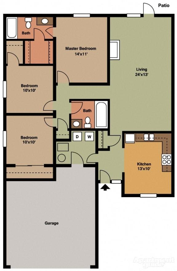 Floor Plan  3 Bed 2 Bath Floor Plan at Shenandoah Properties, Indiana