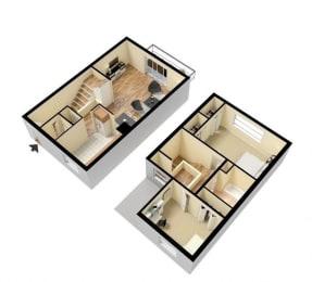Floor Plan  two bedroom townhouse floor plan hyde park detroit