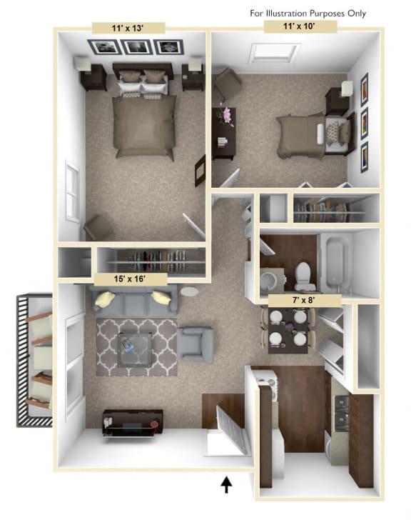 Floor Plan  Timberland - 2 Bedroom with 1 Bath Floor Plan at Woodland Place, Midland, 48640