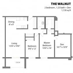 2 Bed 1 Bath The Walnut Floor Plan at Aspenwoods Apartments, Eagan, MN