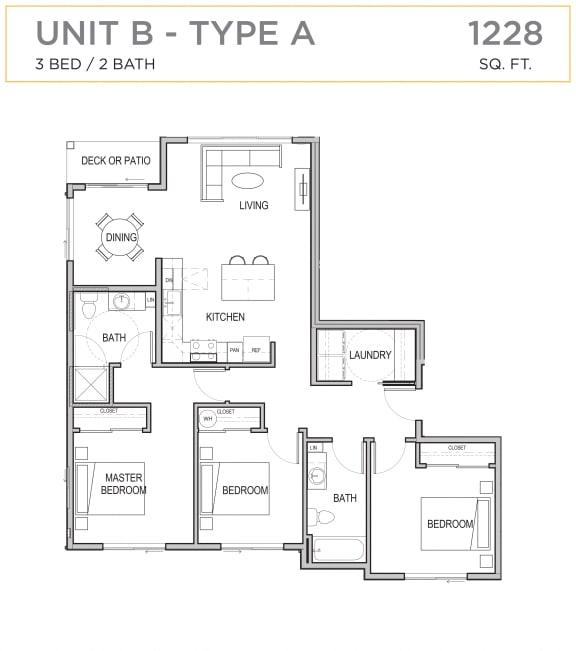 Floor Plan  Ascend Maple Valley Apartments Unit B Floor Plan